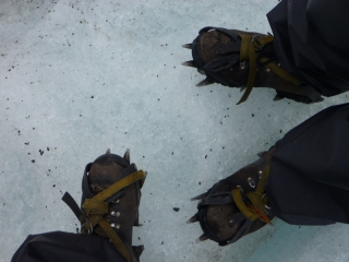 Crampons. Not good for footsie under the table, but great for walking on glaciers
