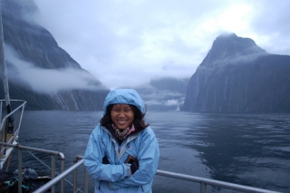Milford Sound in typical fiordland weather. Which means cold, wet and windy