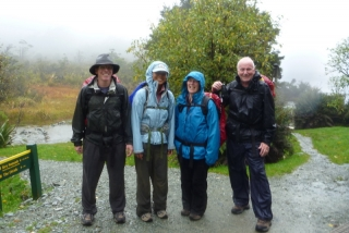 Day One of the Routeburn, and apparently we all love being rained on. Silly