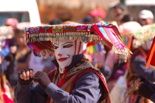 One of the brightly coloured dancers at the festival in Ollantaytambo - as yet, we're none the wiser about what it all means