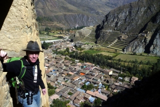Looking down on old Ollantaytambo from the Inca granaries, the restored Inca terraces and temples on the other hillside