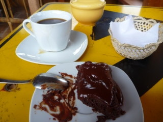 Best food in Ecuador - brownies and coffee, both created out of the raw beans from just down the road