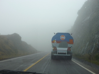 Foggy mountain road - an Ecuadorian driver would see this as the perfect place to overtake, after all there are no oncoming cars visible!