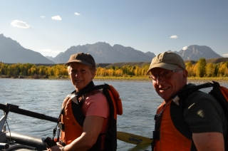 Mum and Dad, a-floating down the Snake River
