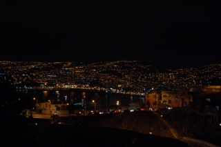 Valparaiso at night, from the balcony of our friendly B&B