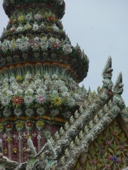 The wonderfully over-ornamented chedis at Wat Pho - Thai flower-power at its best